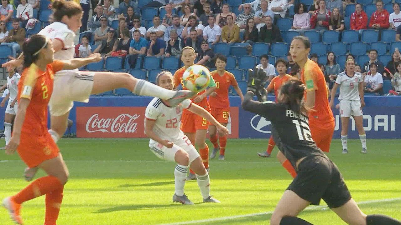 勝ち点3同士の対決、中国vsスペインはスコアレスドロー!得失点差でスペインが2位通過を決める【FIFA 女子ワールドカップ - グループB第3節 ハイライト動画】